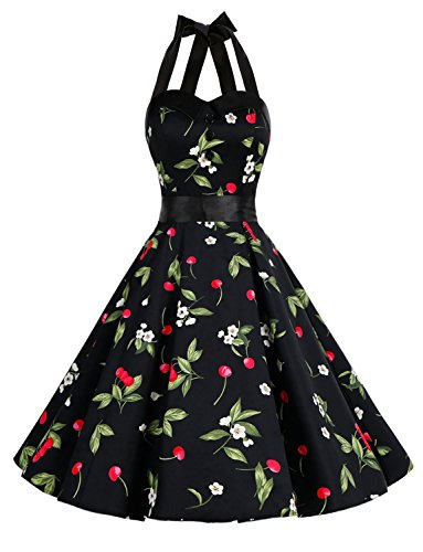Prom Dresses Cocktail Dresses - Dressystar Vintage Polka Dot Retro Cocktail Prom Dresses 50's 60's Rockabilly Bandage Cherry1 L