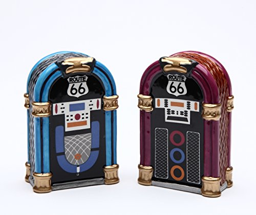 Cosmos Gifts 61826 Fine Ceramic Route 66 Jukebox Salt and Pepper Shakers Set, 2-7/8