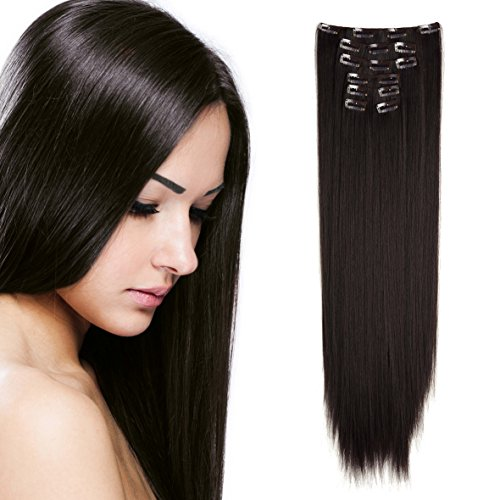 Onedor 24 Straight Synthetic Clip in Hair Extensions. 7 individual pieces for multiple styles.140g (6#-medium Chestnut Brown)