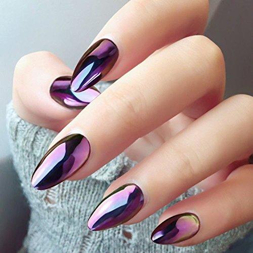 Ushion chrome effect powder polvere effetto specchio nail art camaleonte colore cambiando - Unghie gel specchio ...