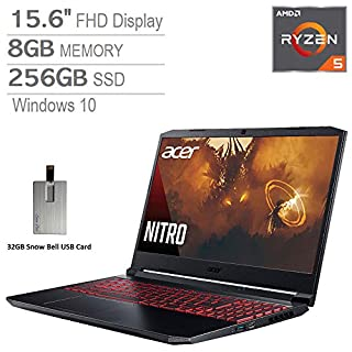 "2020 Acer Nitro 5 15.6"" FHD Gaming Laptop Computer, AMD 3rd Gen Ryzen 5-4600H Processor, 8GB RAM, 256GB SSD, GeForce GTX 1650, Backlit Keyboard, HD Webcam, Windows 10, Black, 32GB Snow Bell USB Card"