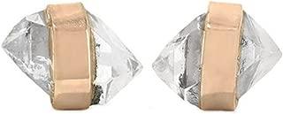 product image for Melissa Joy Manning 14k Gold Bezel Wrapped Mini Herkimer-Diamond Stud Earrings
