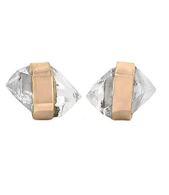 9d46a3551 Amazon.com: Melissa Joy Manning 14k Gold Bezel Wrapped Mini Herkimer-Diamond  Stud Earrings: Jewelry