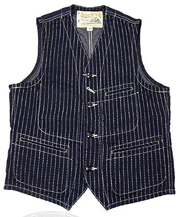 Sugar Cane 9 oz. Wabash Stripe Work Vest SC12654: Navy