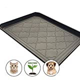 Premium Pet Food Tray - Dog And Cat Food Mat With Non Skid Design - Best For Containing Spills and as Pet Feeding Mat (Dark Grey) 17.5'' x 14''