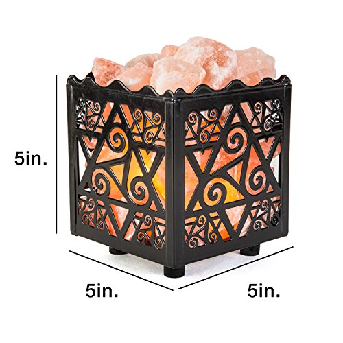 Crystal Decor Natural Himalayan Salt Lamp in Star Design Metal Basket with Dimmable Cord by CRYSTAL DECOR (Image #2)