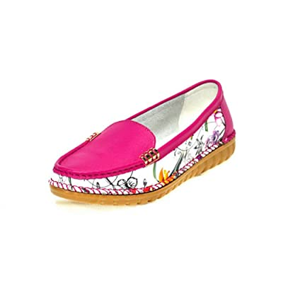 1TO9 Womens Fashion Round-Toe Light-Weight Floral Leather Loafers Shoes MMS05021