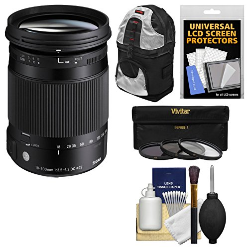 Sigma 18-300mm f/3.5-6.3 Contemporary DC Macro HSM Zoom Lens with Sling Backpack + 3 Filters + Kit for Sony Alpha A-Mount DSLR Cameras