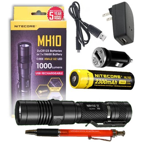 Nitecore MH10 Rechargeable Flashlight w/ Battery, USB Cord, + Car & Wall Charger + FREE A&A Pen