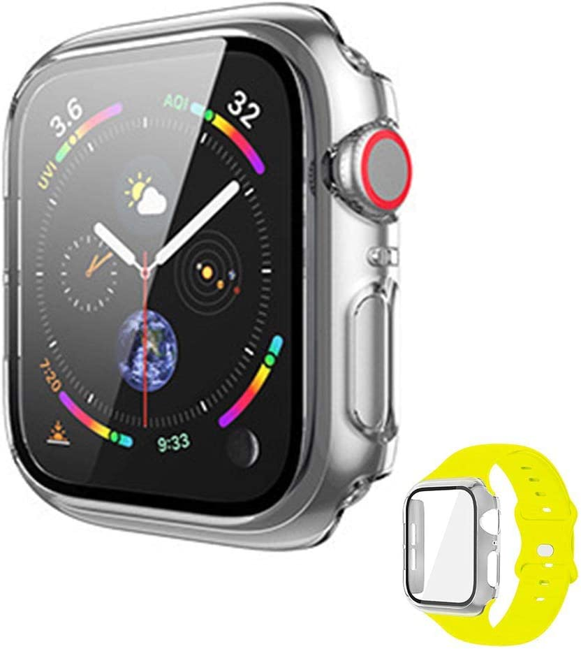 Vopteep Watch Case [Band Included] Compatible for Apple Watch Series 6/SE/5/4 Durable Soft Silicone Strap with Slim Full Coverage Matte Hard Case Replacement for iWatch(Pollen Yellow,40mm S/M)