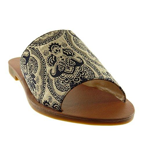 Slip 2 Plat Talon Foncé Mule Mode on Fantaisie CM Bleu Sandale Femme Claquettes Chaussure brodé Angkorly UfIqw7PAv