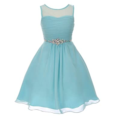f09b9ddf84 Cinderella Couture Big Girls Aqua Glitter Rhinestone Chiffon Flower Girl  Dress 8