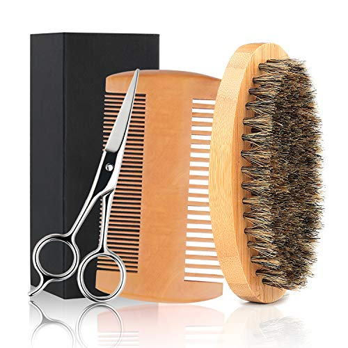 Beard Brush and Beard Comb Beard Grooming Kit for Men with Free Trimming Mustache Scissors Natural Bristle Brush Dual Action Pear Wood Comb Premium Beard Care Combo Gift for Men