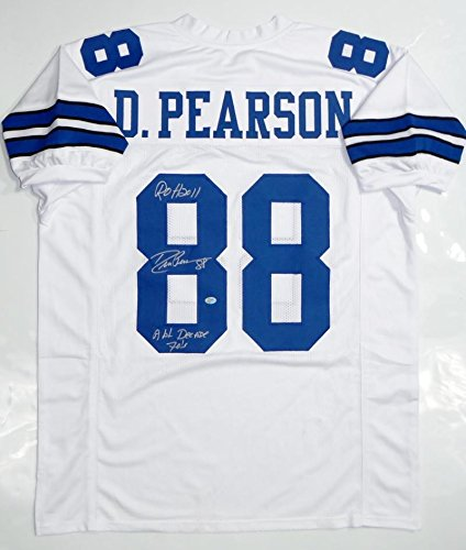 - Drew Pearson Autographed Signed White Pro Style Jersey (Size XL) With Insc - Sgc Auth