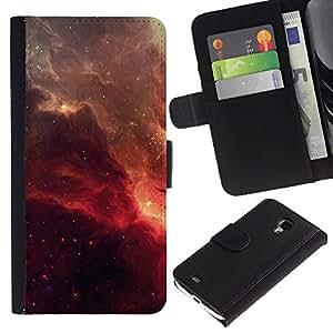 YiPhone /// Tirón de la caja Cartera de cuero con ranuras para tarjetas - Red Galaxy - Samsung Galaxy S4 Mini i9190