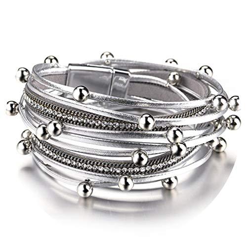 (Bonnova Multilayer Leather Bracelets for Women Femme Crystal Metal Beads Sliver)