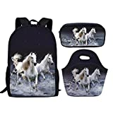Showudesigns Horse White Schoolbag Set Include Backpack Small Lunch Bag Pencil Case for Children