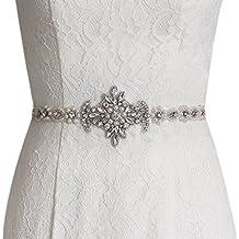 ULAPAN Women's Pearls Bridal Sash Bridal Belt Rinestones Wedding Belts Wedding Sashes