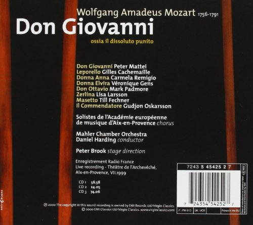 Mozart - Don Giovanni / Mattei, Cachemaille, Remigio, Gens, Padmore, Larsson, Fechner, Oskarsson; Harding by Virgin Classics (Image #1)