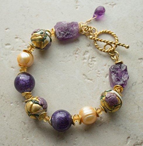 Amethyst Murano Bracelets (Plum Gold Murano Glass Bracelet)