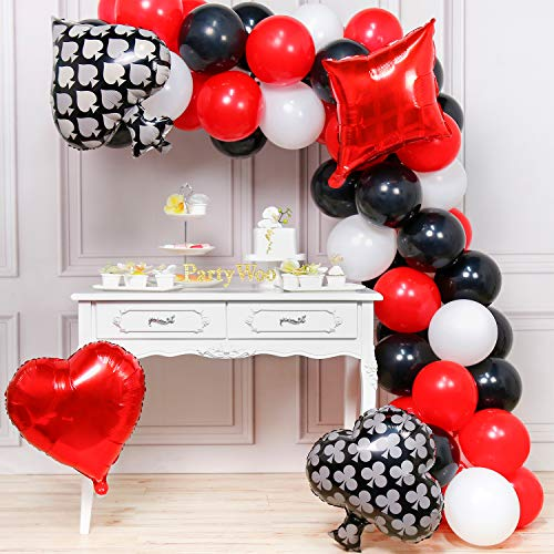 PartyWoo Casino Balloons, 54 pcs Red Black and White balloons, 4 Casino Mylar Balloons, Casino Night Balloons, Casino Party Balloons for Las Vegas Decorations, Casino Party Decoration, Casino Birthday