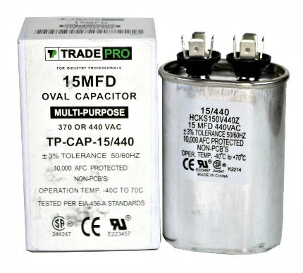 TradePro 15 MFD 440 or 370 Volt Oval Run Capacitor Replaceme