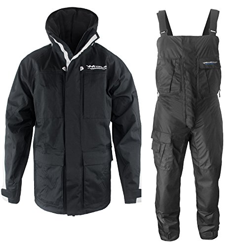 c901f535e5b8b WindRider Pro Foul Weather Gear - Rain Suit - Jacket + Bibs - Breathable,  Numerous Pockets, Mesh Lined for Comfort - for Fishing, Sailing, ...