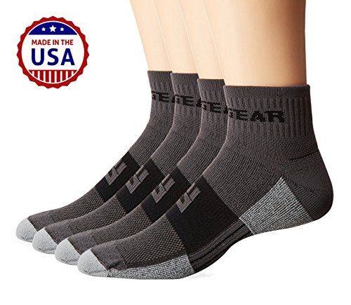 MudGear Trail Running Socks for Men and Women, Made in USA - 2 Pair Pack (Gray/Black, ()