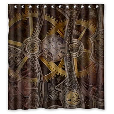 Stylish Living Elegant Gear Steampunk Bathroom Shower Curtain (66  x 72  ) for Home / Traval / Hotel with Hooks