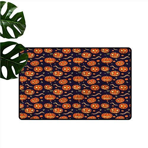 DUCKIL Outdoor Door mat Halloween Different Pumpkin Faces Quick and Easy to Clean W30 xL39