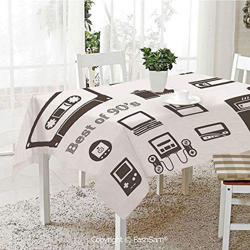 Premium Waterproof Table Cover Gadget of 90s Icons Pattern with Desktop Computer Video Game Joystick Nostalgia Theme Print Washable Table Protectors for Family Dinners(W60 xL104)