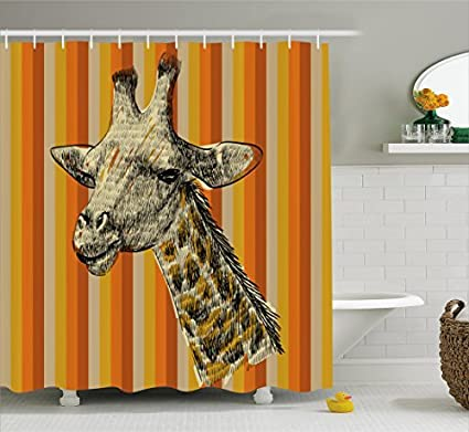 TownLights Giraffe Shower Curtain Hooks Smart Inexpensive Sketch Style Portrait Of A