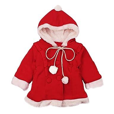 Hongyuangl Noël Manteau à Capuche en Polaire Bébé Fille Hiver Chaud Épais  Parka Doudoune Cape Blouson a26d0403d5c