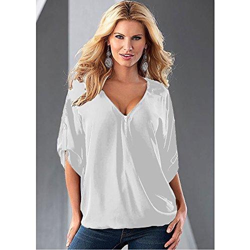 Loose Courtes Sexy Haut XFentech Mousseline Shirts de soie Manches V Chemisier Blanc Femmes Slim V Neck 5P4OwrXxwq