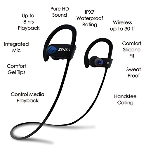 SENSO Bluetooth Headphones, Best Wireless Sports Earphones w/Mic IPX7 Waterproof HD Stereo Sweatproof Earbuds for Gym Running Workout 8 Hour Battery Noise Cancelling Headsets (Blue) by Senso (Image #3)