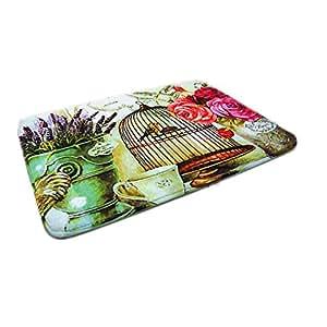 LuK aceite suave alfombrillas de terciopelo Coral absorbente cocina Felpudo flores de estilo europeo jardín interior Mat pintura Felpudo