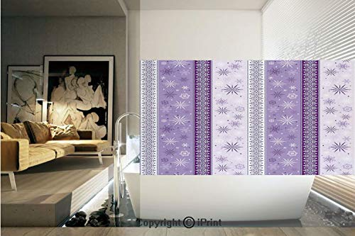 (Decorative Privacy Window Film/Arabesque Scroll Western Christmas Snowflakes Middle Eastern Noel Print Decorative/No-Glue Self Static Cling for Home Bedroom Bathroom Kitchen Office Decor Lavender Viol)