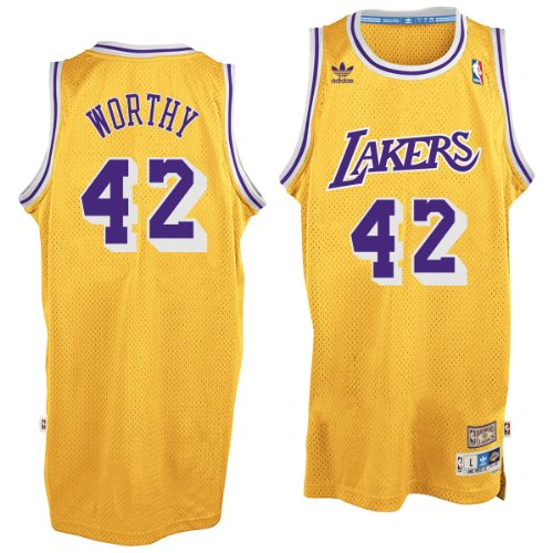 Lakers Authentic Jersey - adidas Los Angeles Lakers #42 James Worthy NBA Soul Swingman Jersey, Gold, Size: Small