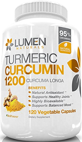 Turmeric Curcumin with BioPerine Black Pepper – 1200mg Extra Strength Fast Acting Anti-Inflammatory Capsules – Naturally Relieve Joint Back Pain with 95 Standardized Curcuminoids – 120 Count