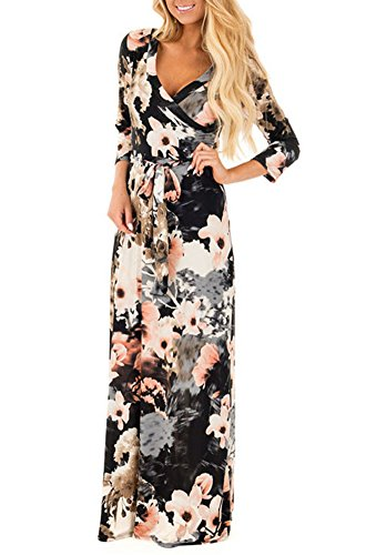 3/4 Sleeve V-neck Knot (Womens Summer 3/4 Sleeve V Neck Floral Print Faux Wrap Maxi Long Dresses With Belt Black M)