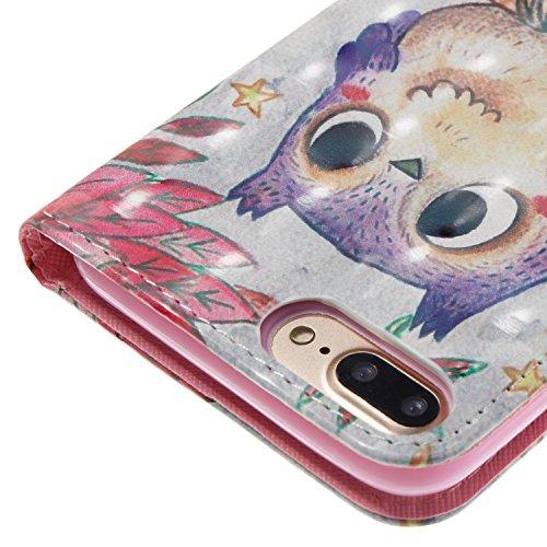 Coque iPhone 7 Plus Hiboux violet Portefeuille Fermoir Magnétique Supporter Flip Téléphone Protection Housse Case Étui Pour Apple iPhone 7 Plus + Deux cadeau