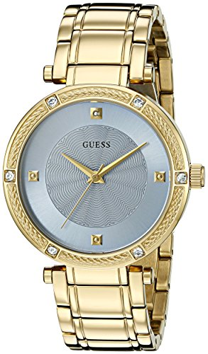 - GUESS Women's U0695L2 Dressy Gold-Tone Watch with Diamond Accent and Sky Blue Dial