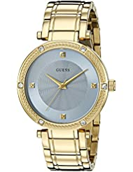 GUESS Womens U0695L2 Dressy Gold-Tone Watch with Diamond Accent and Sky Blue Dial