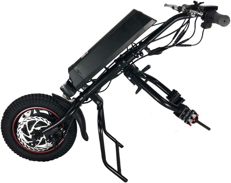 GMtes Silla de Ruedas eléctrica Adjunto handcycle Silla de Ruedas, Terapia de rehabilitación eléctrica Kit de conversión de Silla de Ruedas con la luz Delantera,8Ah