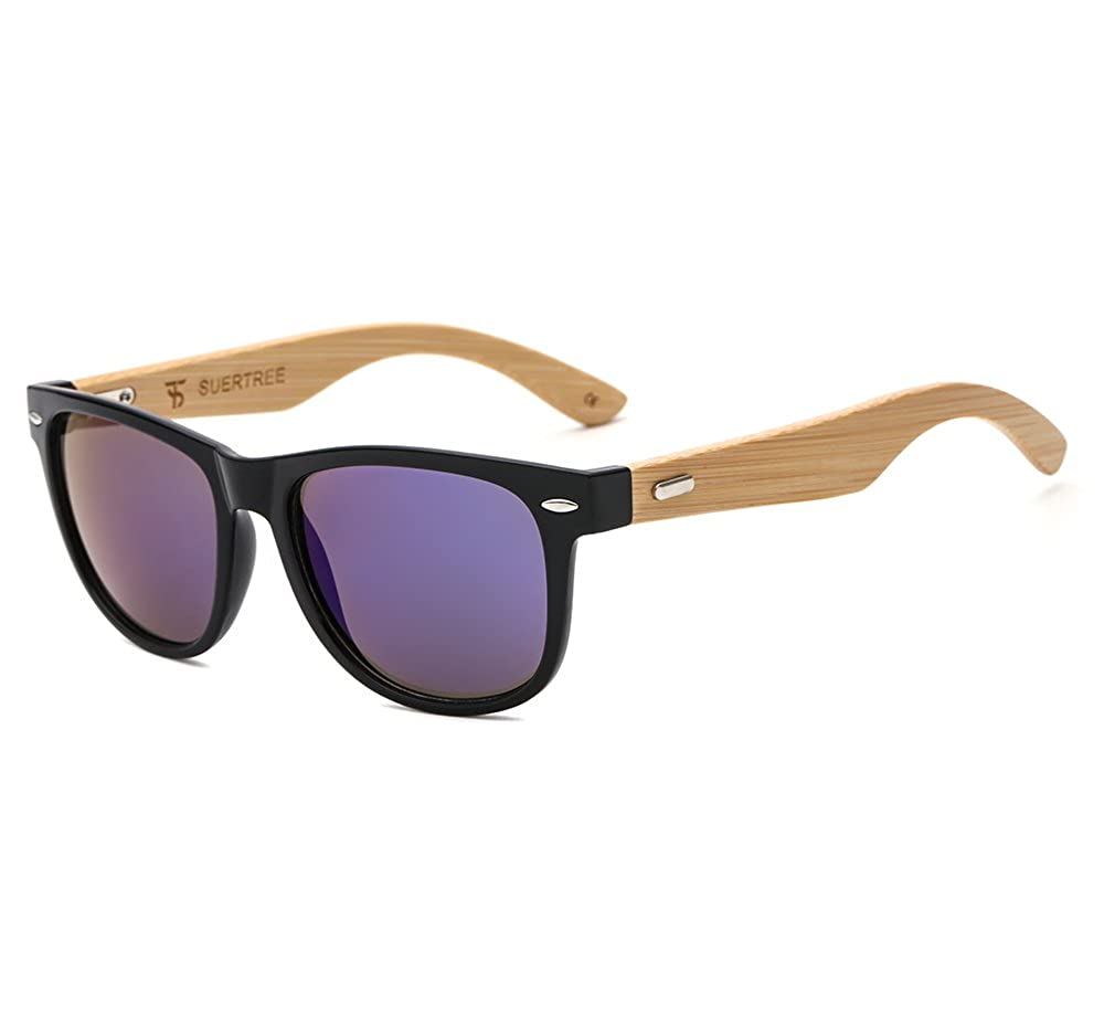 fd9999f522 Amazon.com  SUERTREE Bamboo Sunglasses Cute Women Men Vintage Shades Retro  Summer Round UV 400 Protect Eyeglasses JH8001 (Black Frame
