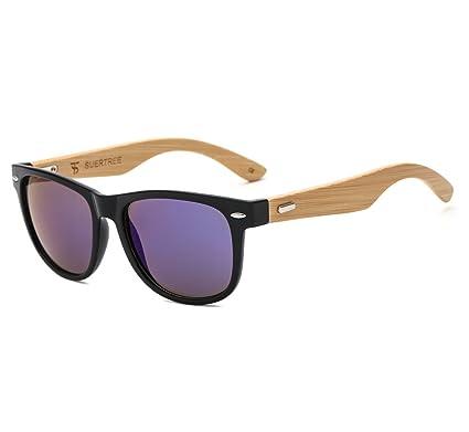 f84ced0c52 SUERTREE Fashion Bamboo Sunglasses Women Men Ladies Vintage Square Sun  Glasses Retro Black Frame Blue Mirror JH8001  Amazon.co.uk  Clothing