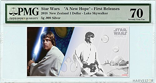 2018 No Mint Mark Star Wars Luke Skywalker Silver Coin Note - Certified PMG 70 FIRST RELEASES - Gem Uncirculated - 5g Silver Note $1 Seller Gem Uncirculated