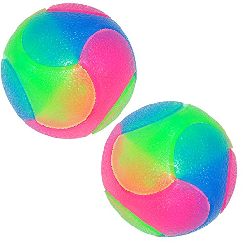 FineInno Light Up Dog Balls Flashing Elastic Ball Glow in The Dark Interactive Pet Toys for Puppy, Cats, Dogs 2 inch (2 Balls)