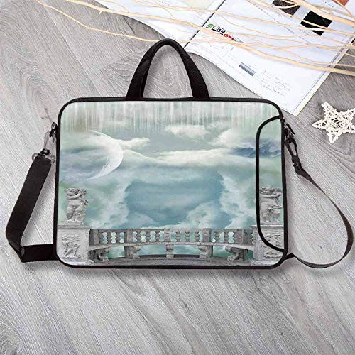 Mystic Decor Lightweight Neoprene Laptop Bag,Balcony in The Sky with Angel Statues Princess Castle Victorian Style Architecture Laptop Bag for Laptop Tablet PC,13.8