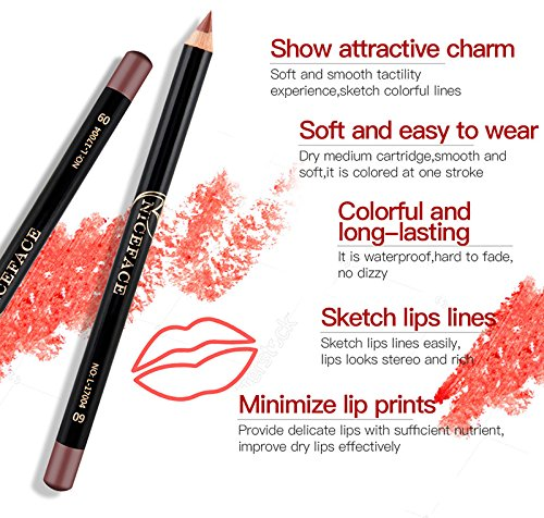 Ownsig 12PCS Lip Liner Pen Set Pencils For Lips Contour Nude Color Cosmetics Waterproof Lip Liner Pencil Kit